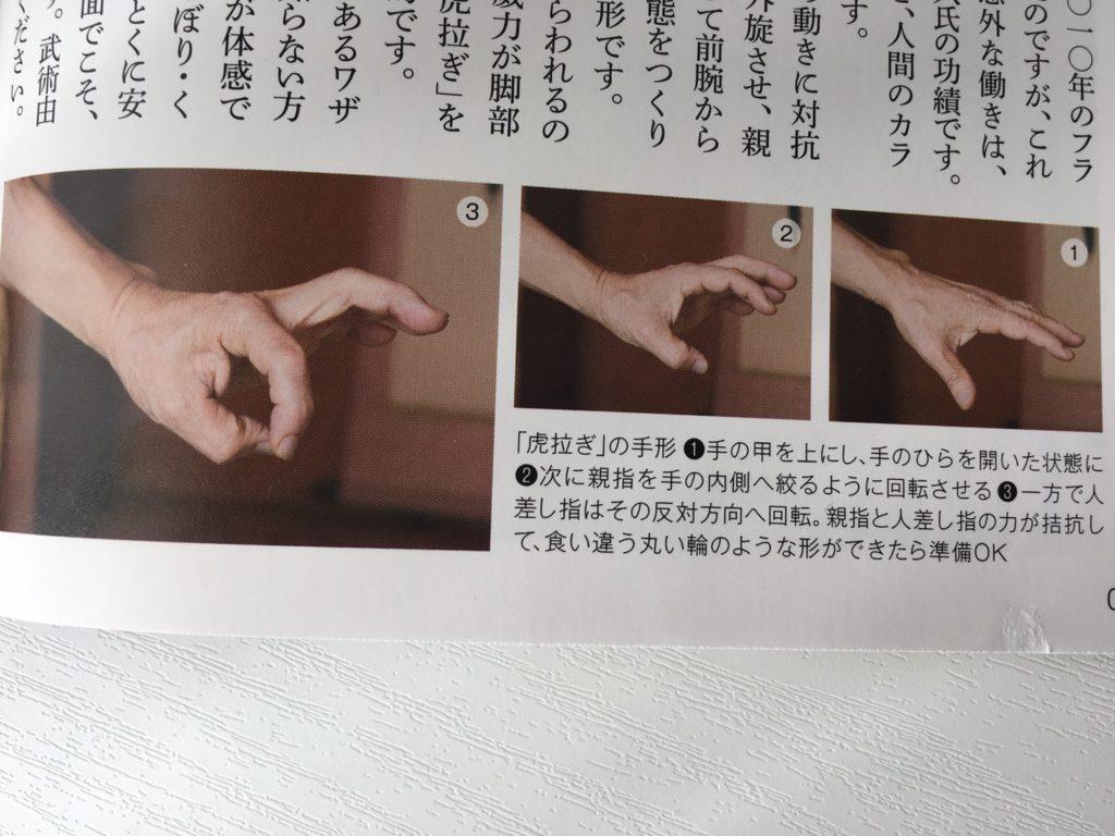 「虎拉ぎ」の手形。甲野義紀、甲野陽紀:驚くほど日常生活を楽にする 武術&身体術より引用。